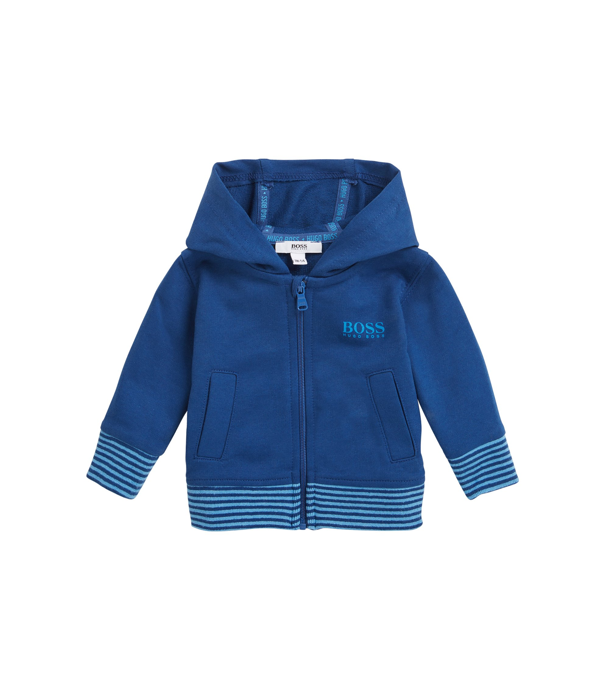 Baby cardigan in ribbed cotton fleece, Dark Blue
