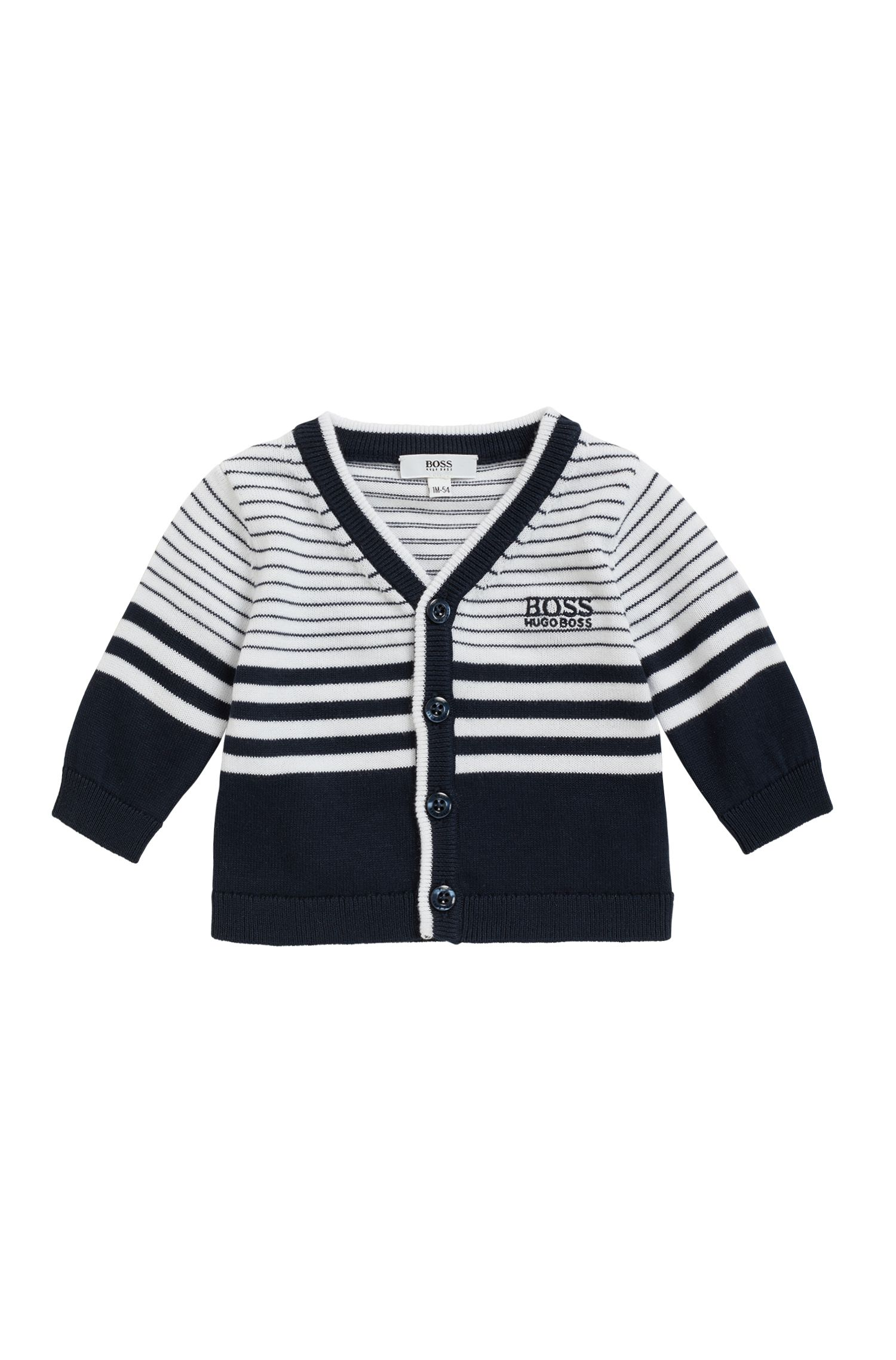 Baby boy knitted cardigan in pure cotton, Patterned