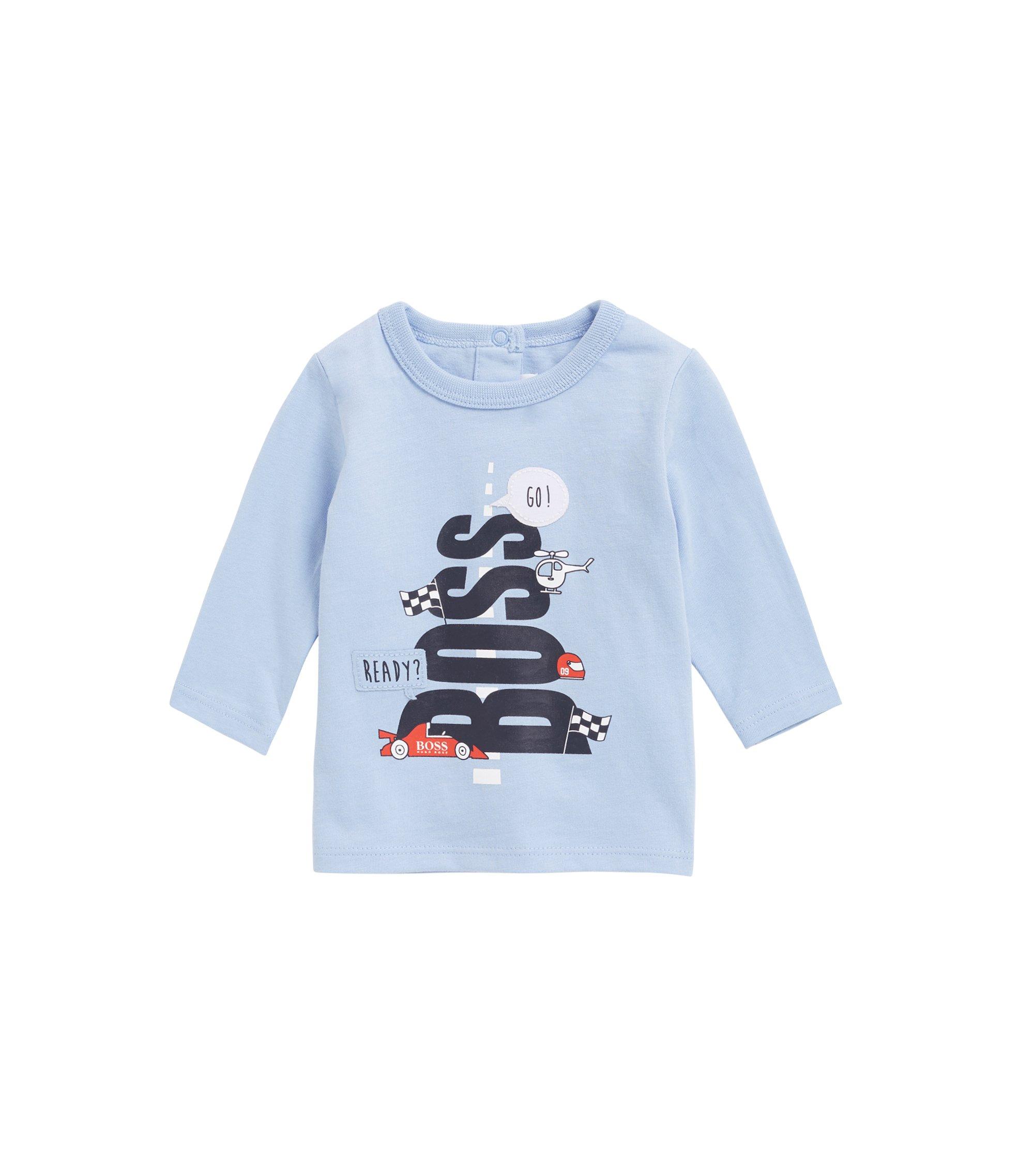 Baby-T-shirt van katoenjersey met grafisch logo, voor jongens, Lichtblauw