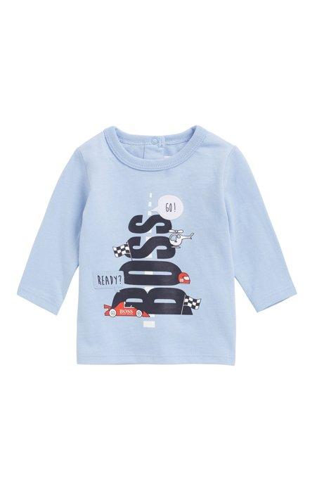 Camiseta para bebé niño en punto de algodón con logo gráfico, Celeste