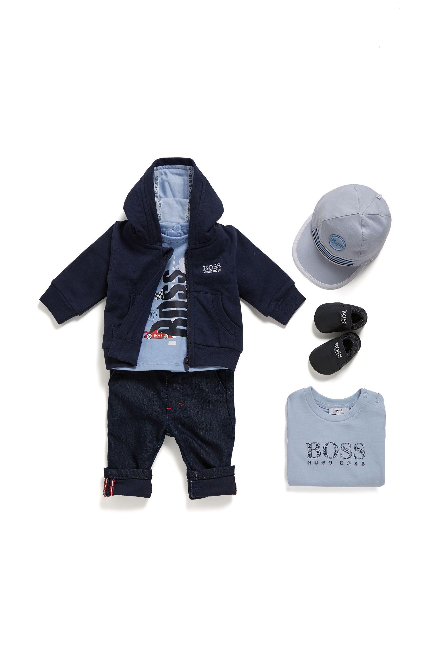 T-shirt pour petit garçon en jersey de coton avec logo graphique, Bleu vif