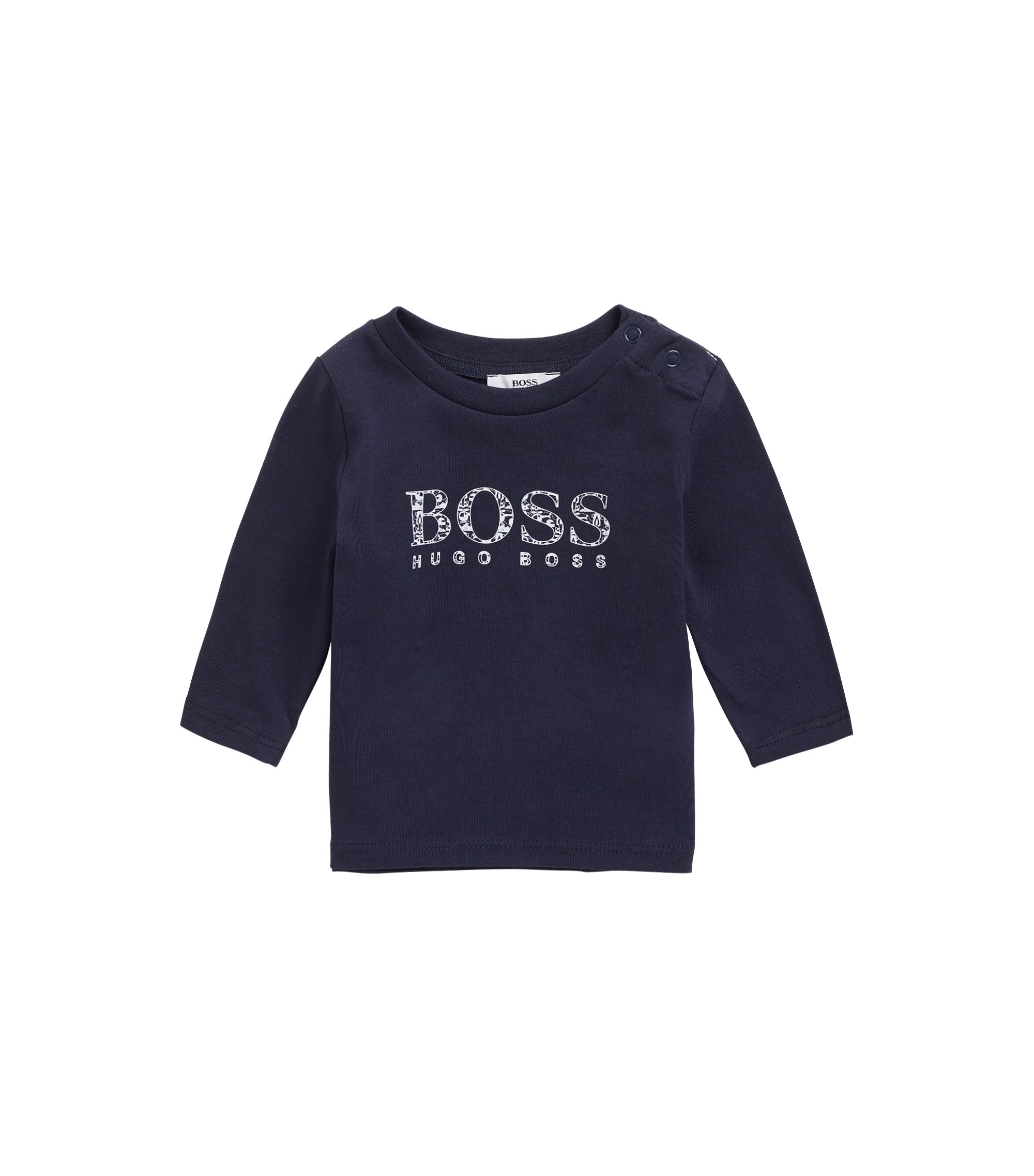 Baby T-shirt in cotton jersey with logo print, Dark Blue