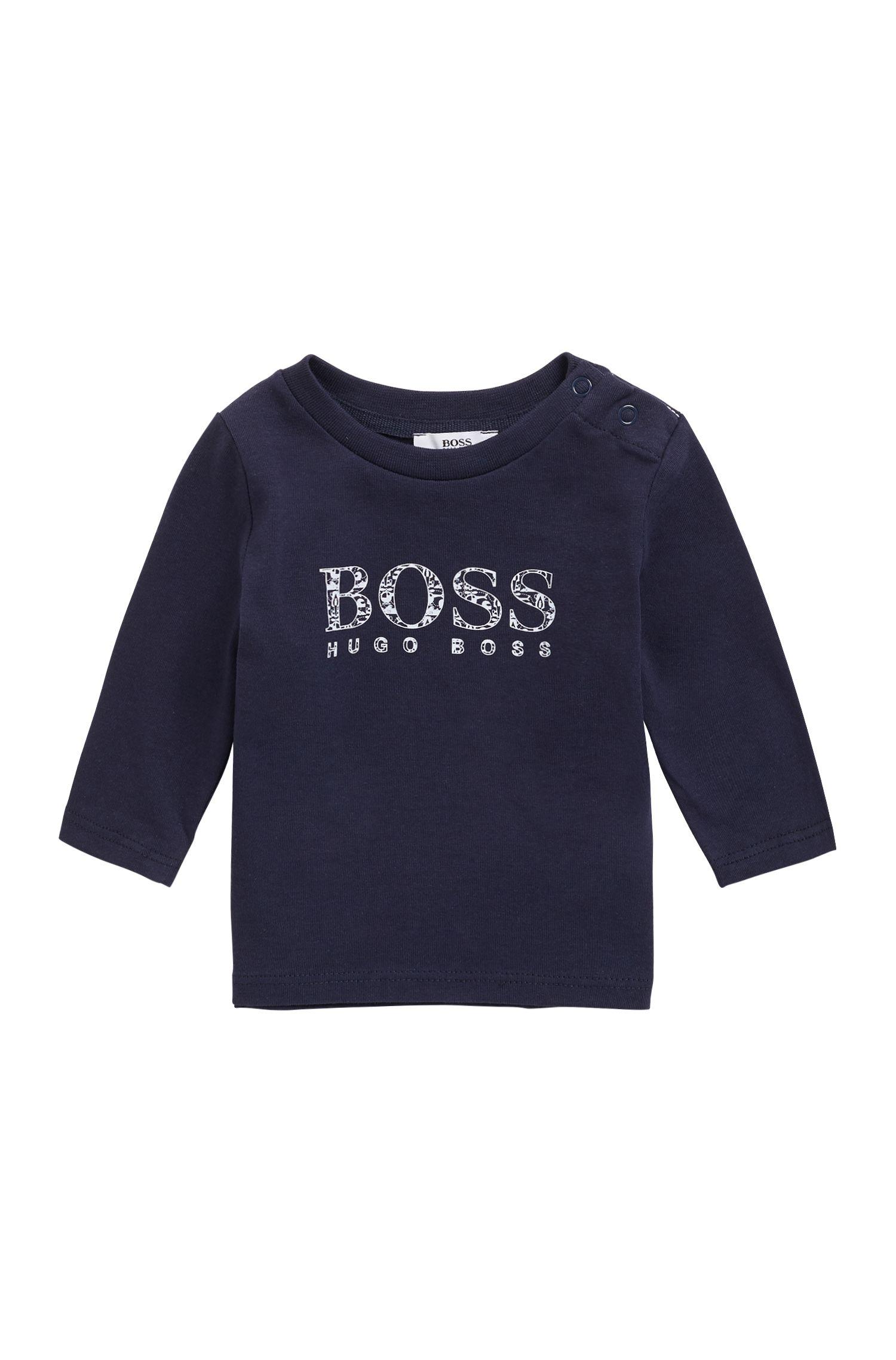 T-shirt pour bébé en jersey de coton à logo imprimé, Bleu foncé