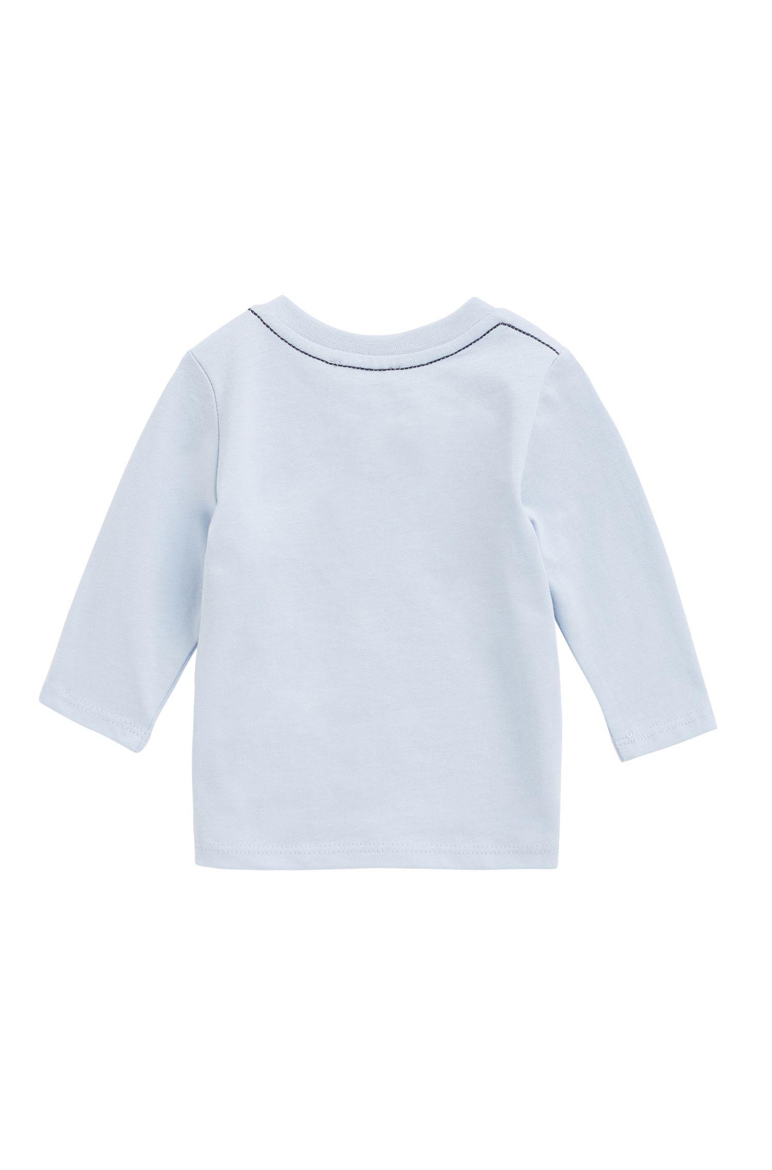 Baby-T-shirt van katoenjersey met logoprint, Lichtblauw