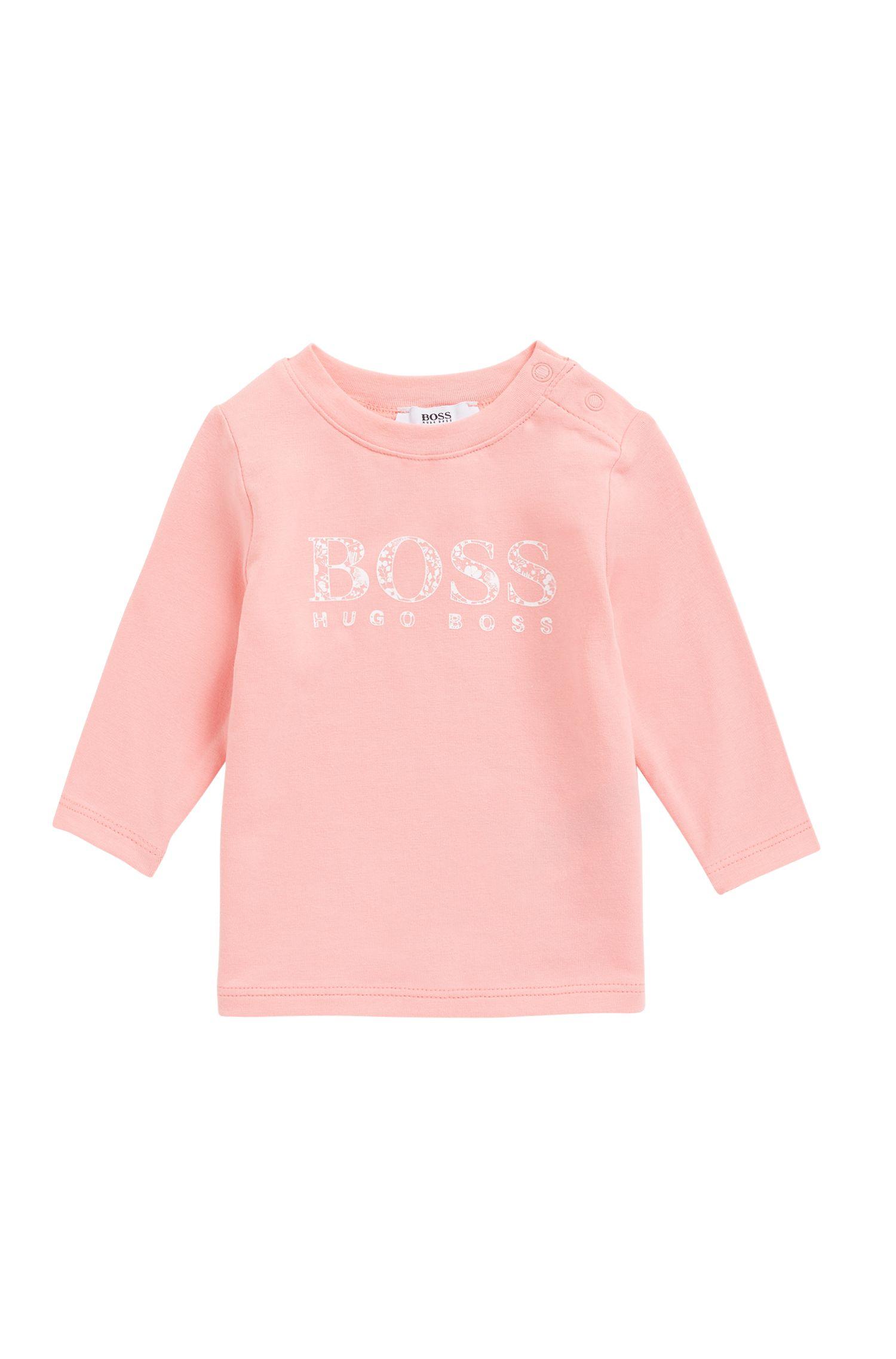 T-shirt à manches longues pour petite fille en jersey, avec logo imprimé, Rose clair