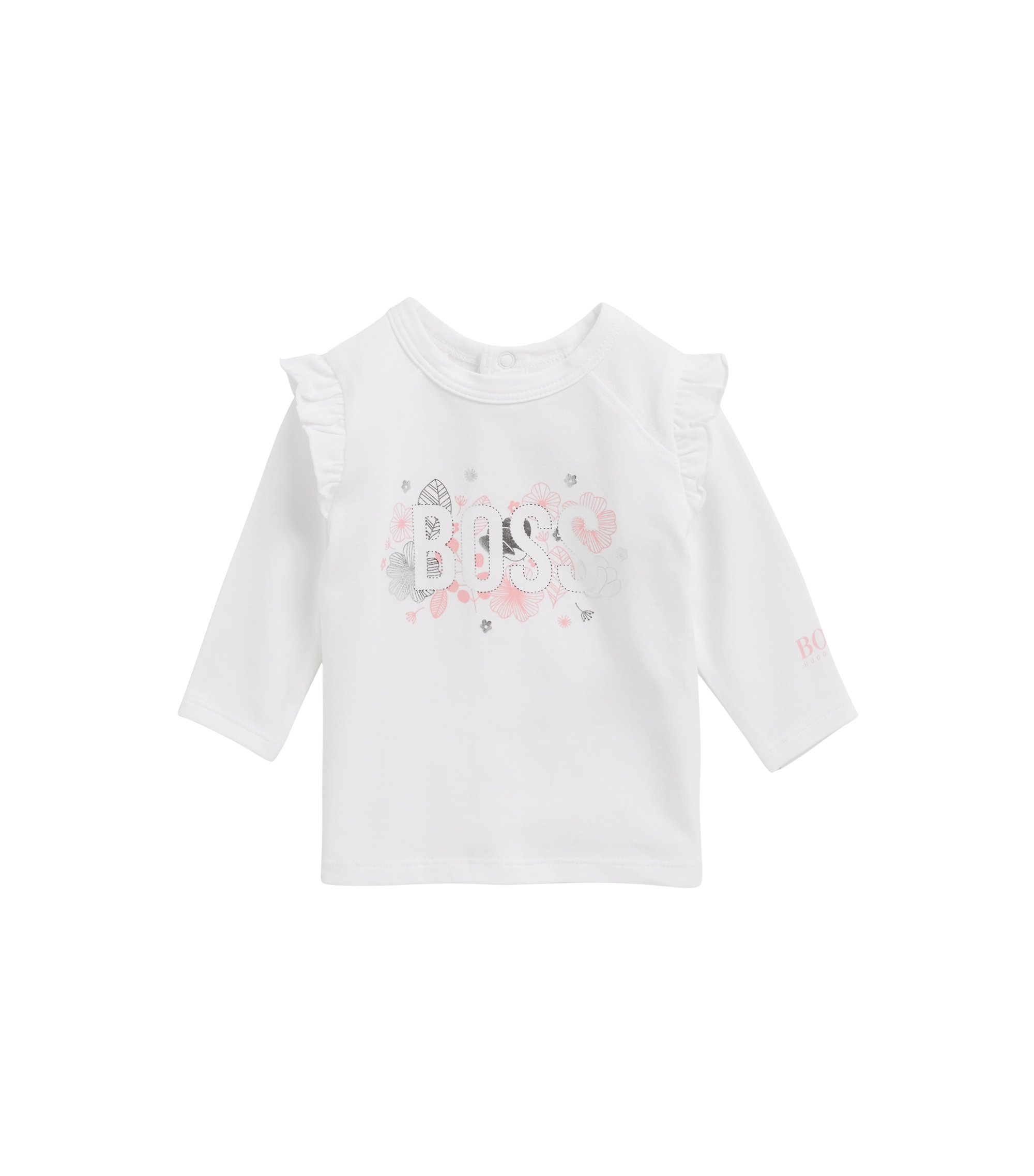 Baby girl logo-print T-shirt in stretch cotton jersey, White
