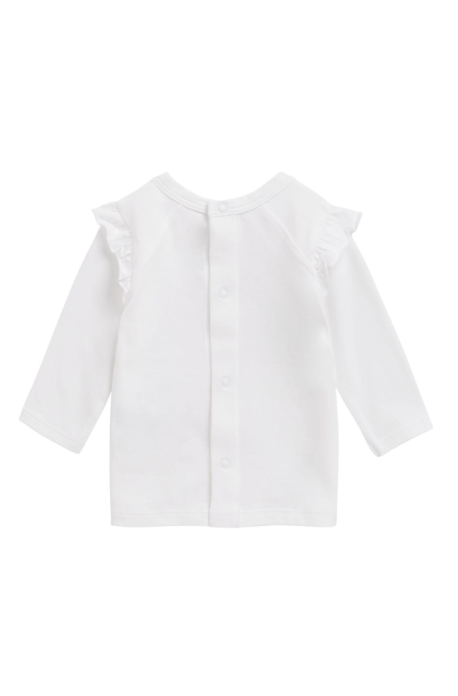 Baby-Longsleeve aus elastischem Baumwoll-Jersey mit Logo-Print, Weiß