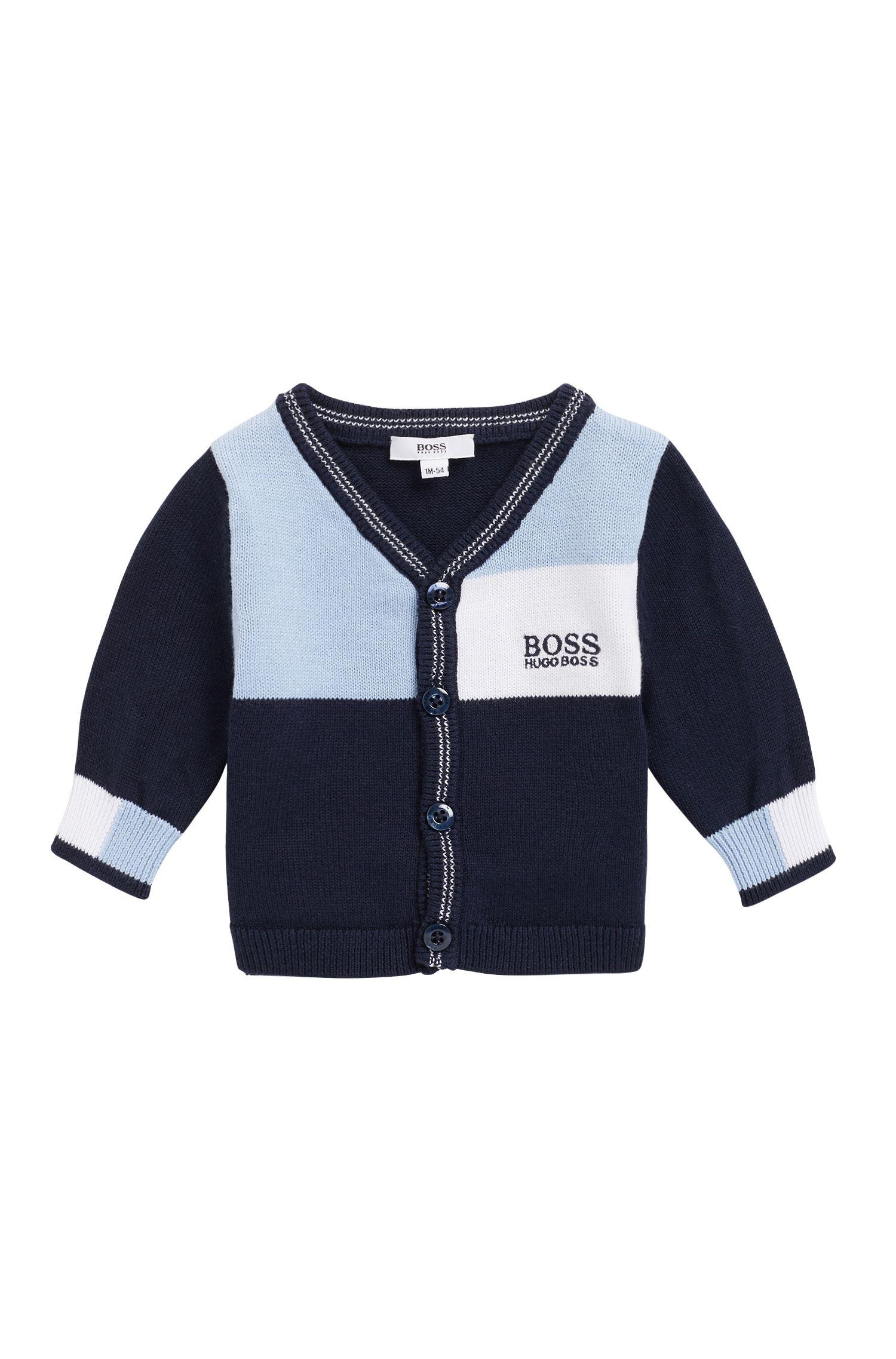 Cárdigan de algodón peinado para bebé niño en diseño de bloques de colores, Azul oscuro