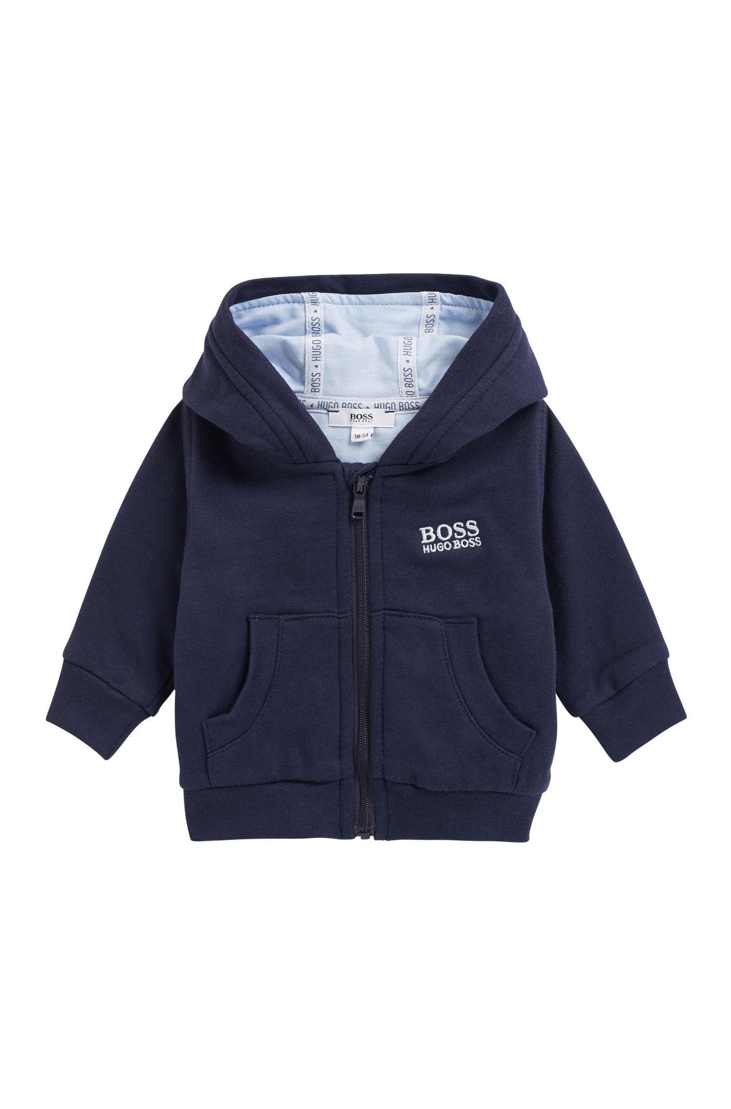 Veste d'intérieur à capuche pour bébé en molleton de coton mélangé, Bleu foncé