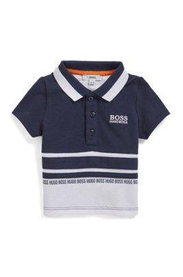 Baby striped polo shirt with logo print, Patterned