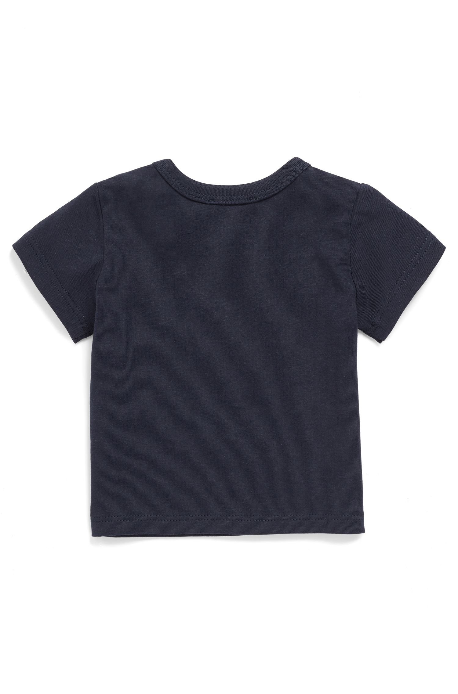 Baby cotton T-shirt with colourful logo print, Dark Blue