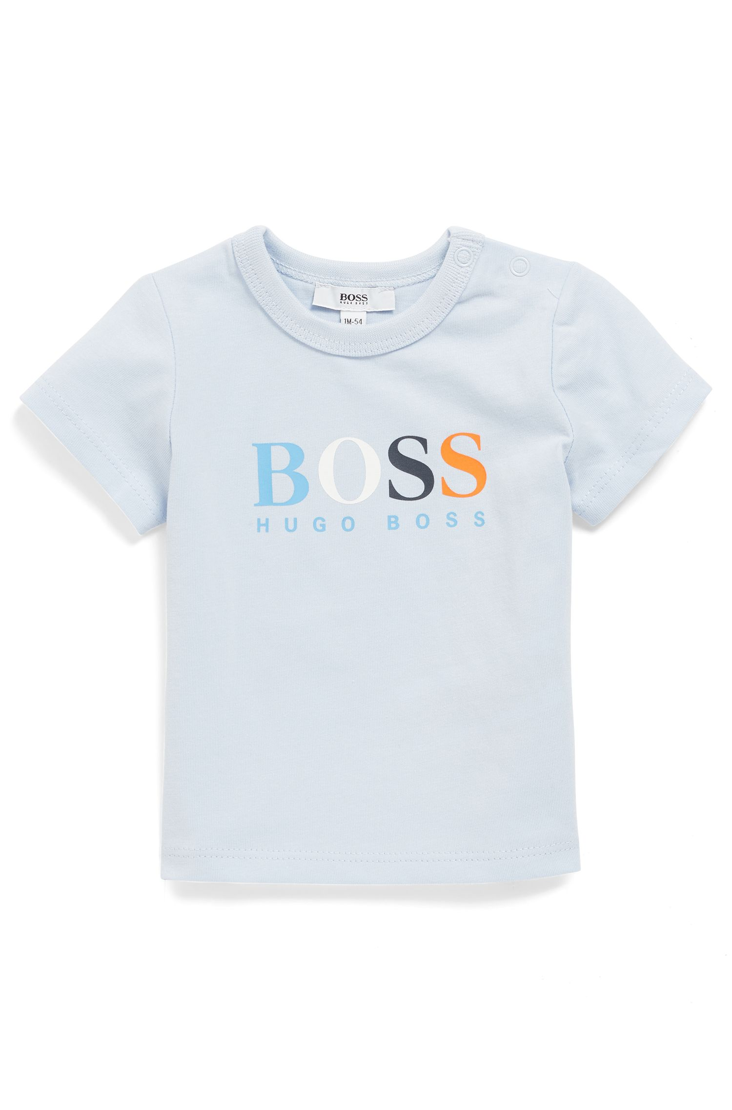 Baby cotton T-shirt with colourful logo print, Light Blue