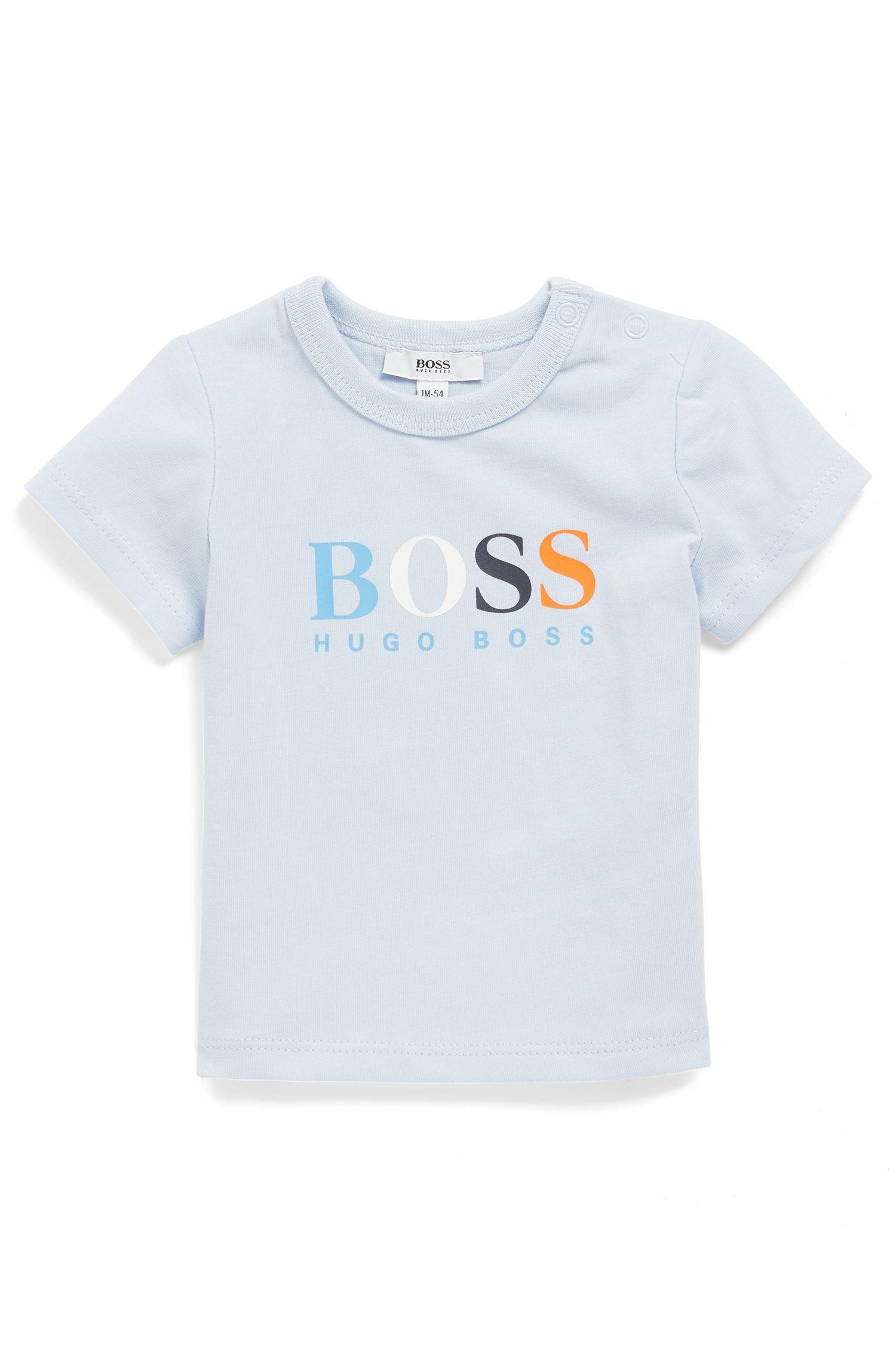 T-shirt pour bébé en coton à logo imprimé coloré, Bleu vif