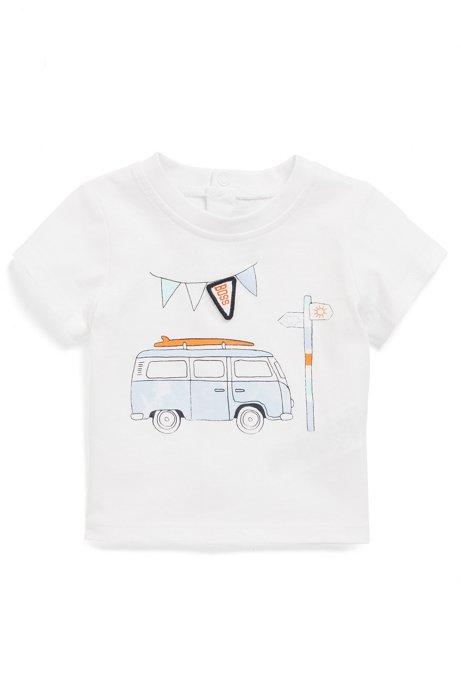Baby-T-Shirt aus Baumwolle mit Camper-Motiv, Weiß