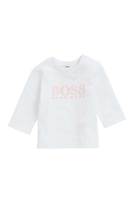 Kids' long-sleeved T-shirt with gold-detail logo, White