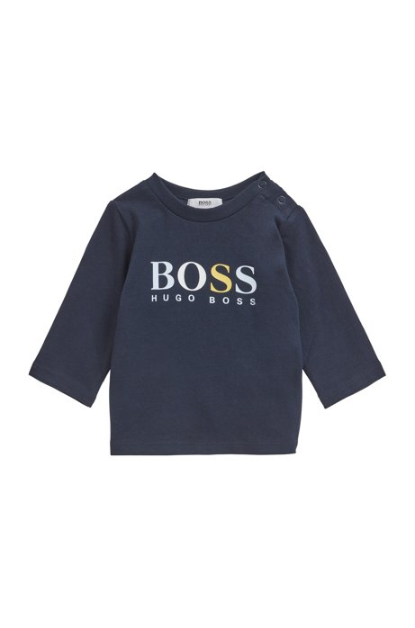 Baby long-sleeved logo T-shirt in cotton, Dark Blue