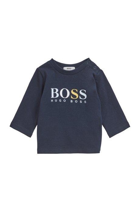 T-shirt logo en coton pour bébé, à manches longues, Bleu foncé