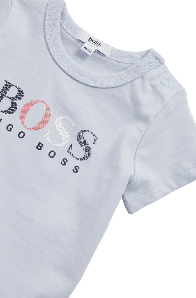 Baby T-shirt in pure cotton with multi-coloured logo