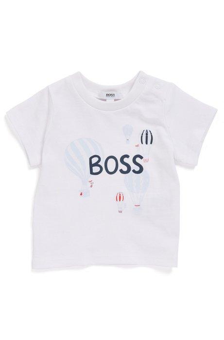 Baby T-Shirt aus Baumwolle mit Heißluftballon-Motiv, Weiß