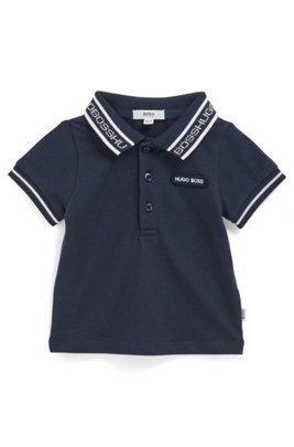 Baby-Poloshirt aus Stretch-Baumwolle mit Logo am Kragen, Dunkelblau