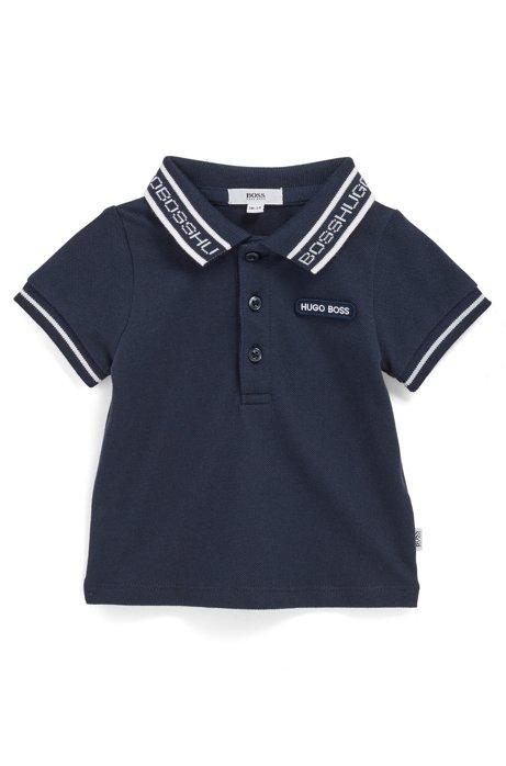 Polo pour bébé en coton stretch avec col logo, Bleu foncé