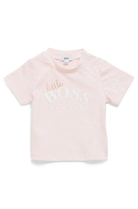 Baby-T-shirt van stretchkatoen met logo-artwork, Lichtroze