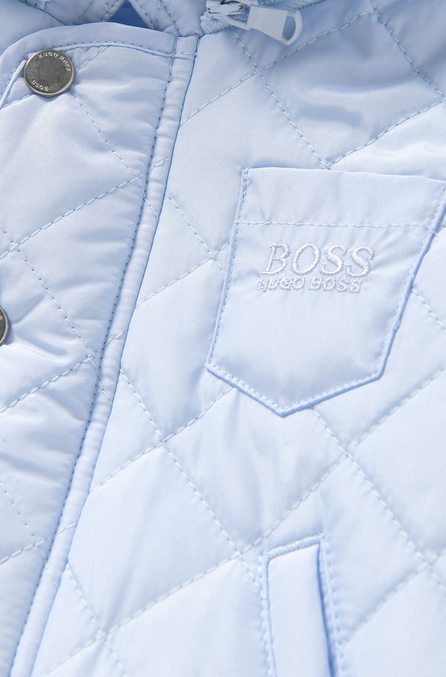 Newborns' quilted jacket with detachable hood: 'J96056'