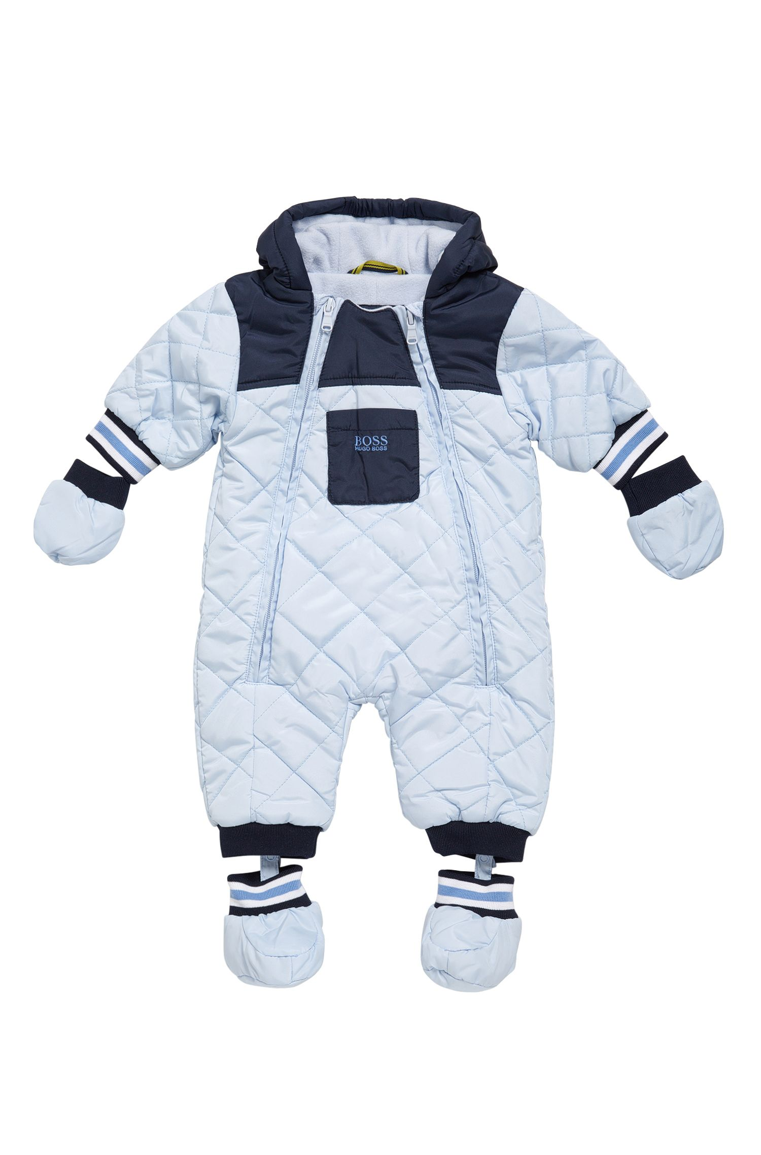 Baby-Overall aus Material-Mix mit Kapuze: 'J26282'