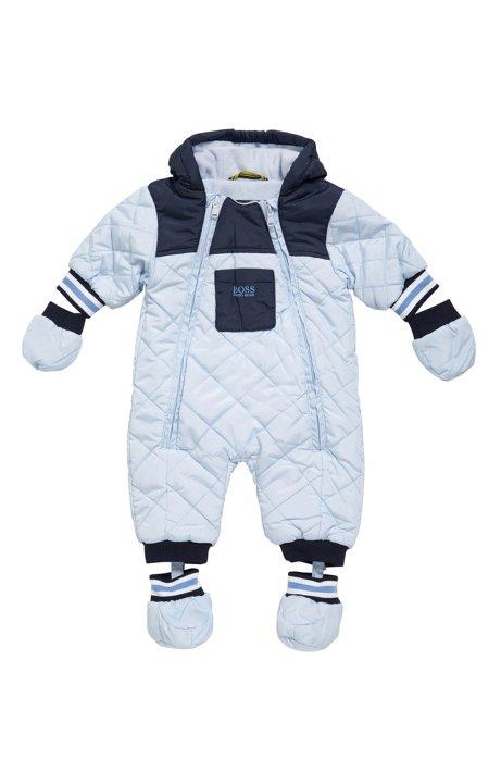 Combinaison pour bébé en mélange de matières à capuche: «J26282», Bleu vif