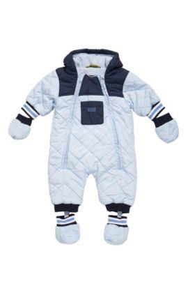 Hooded material blend overalls for newborns: 'J26282', Light Blue