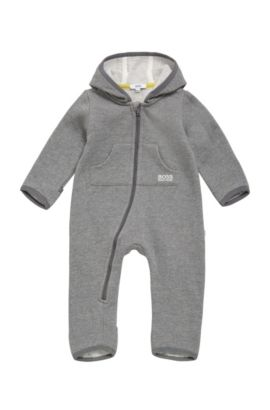 Hooded cotton blend overalls for newborns: 'J96059', Grey