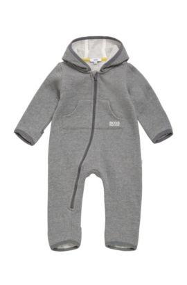 Mono para bebé en mezcla de algodón con capucha: 'J96059', Gris