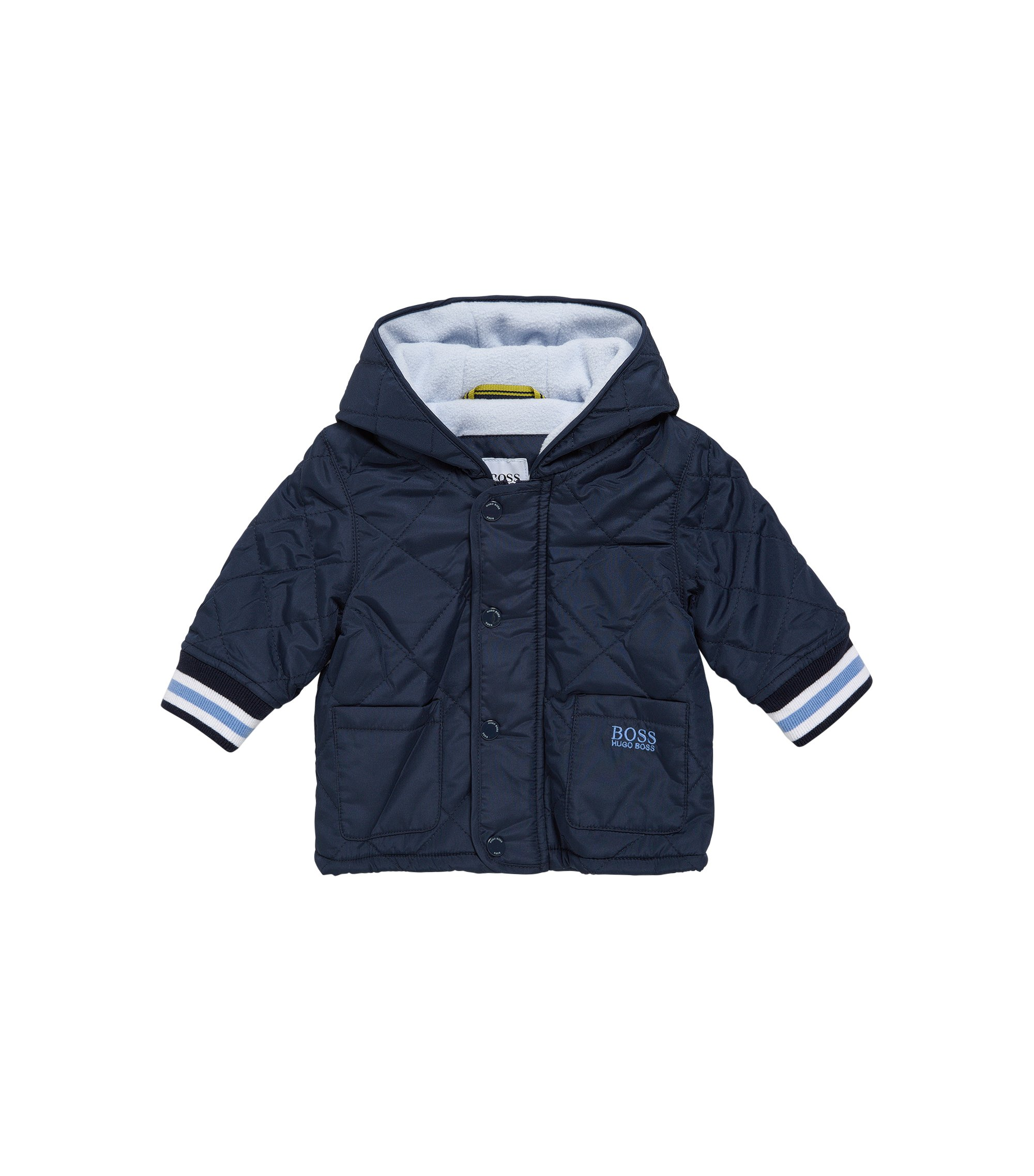 Giubbotto da neonato trapuntato in materiali misti con cappuccio: 'J96061', Blu scuro