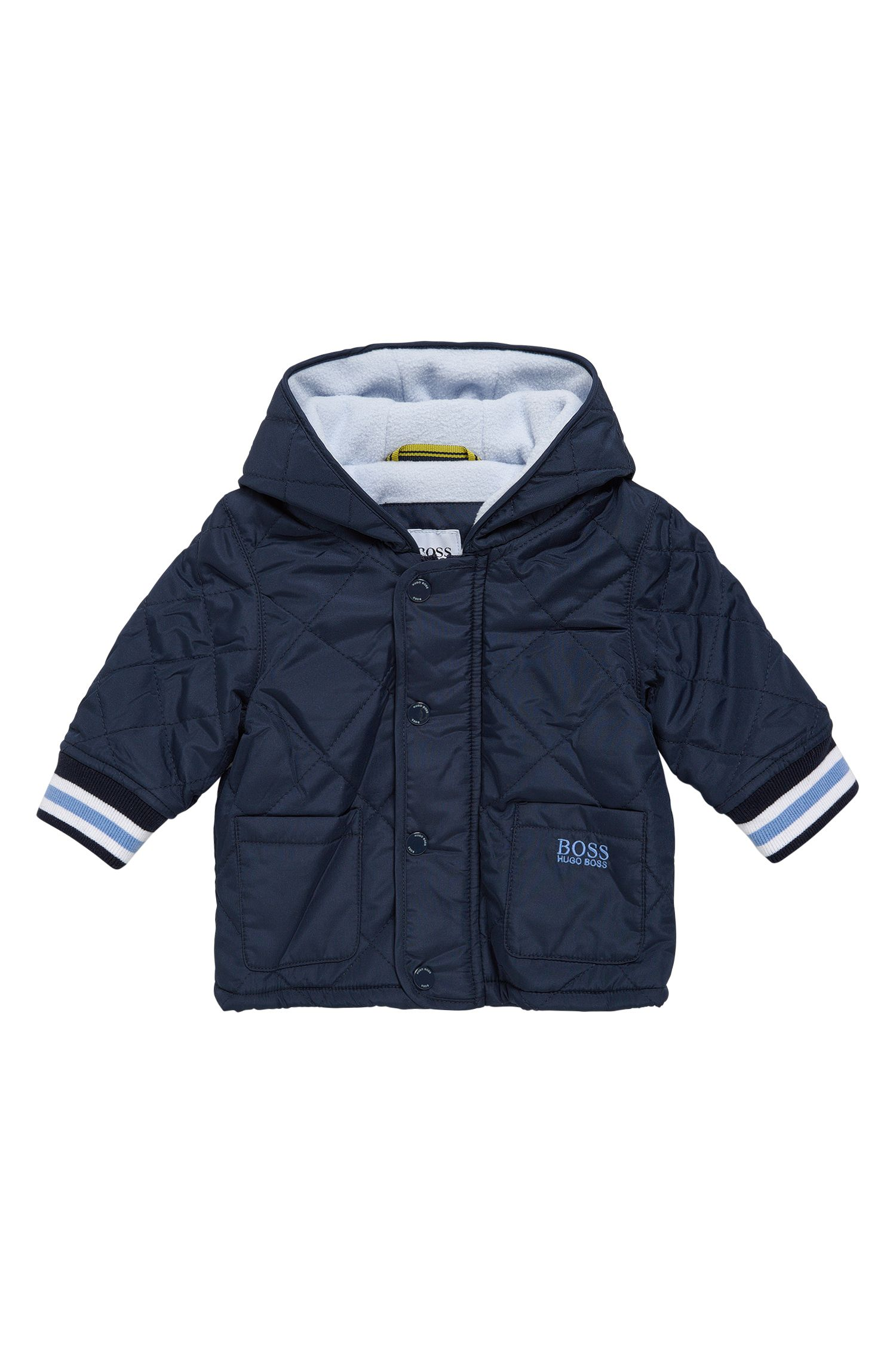 Hooded and quilted newborn jacket in material blend: 'J96061'