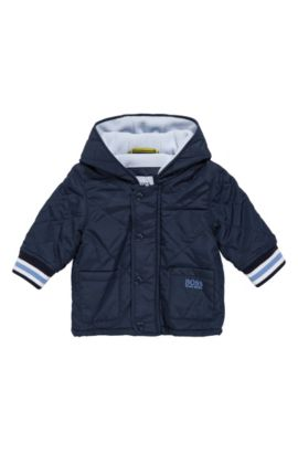 Hooded and quilted newborn jacket in material blend: 'J96061', Dark Blue