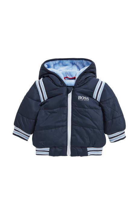 005072284 BOSS - Baby padded jacket with hood and faux-fur lining
