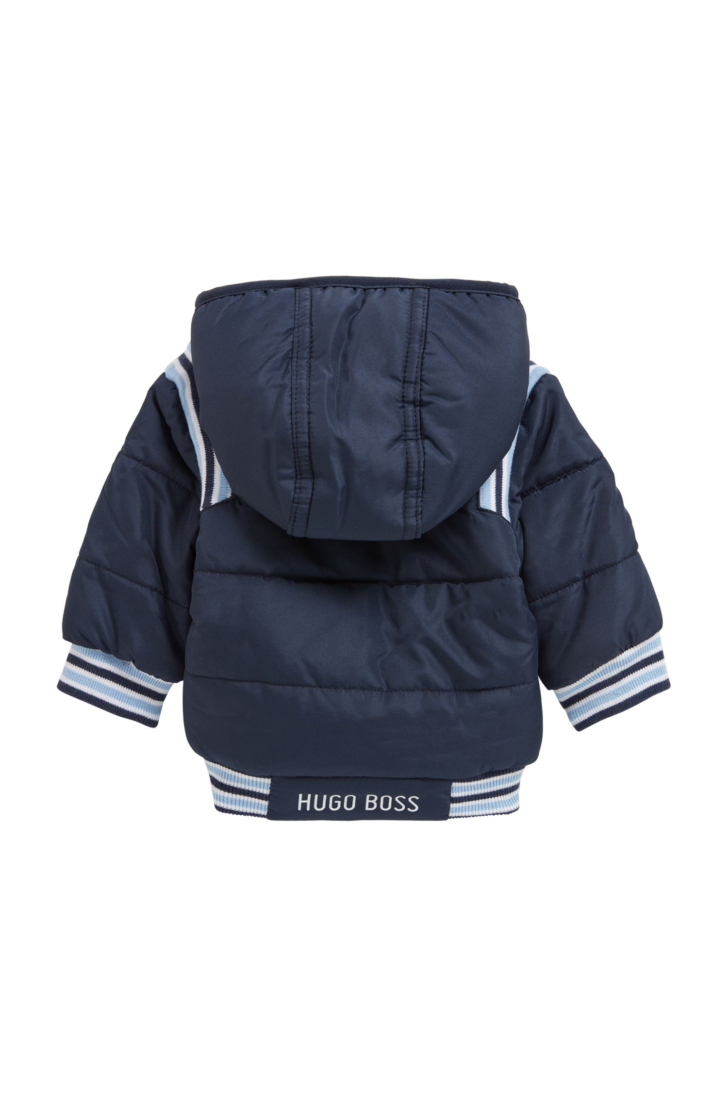 Baby padded jacket with hood and faux-fur lining, Dark Blue