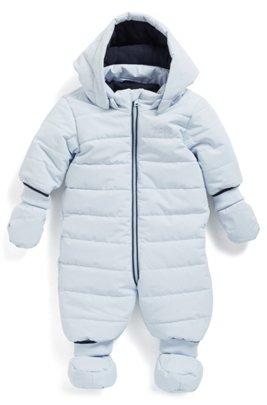 Baby-Schneeanzug mit abnehmbaren Fäustlingen und Babyschuhen, Hellblau