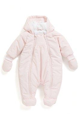 Tuta da neve da neonato con cappuccio e fodera interna in pelliccia sintetica, Rosa chiaro
