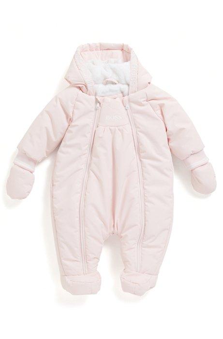 Combinaison à capuche pour bébé avec doublure en fourrure synthétique, Rose clair