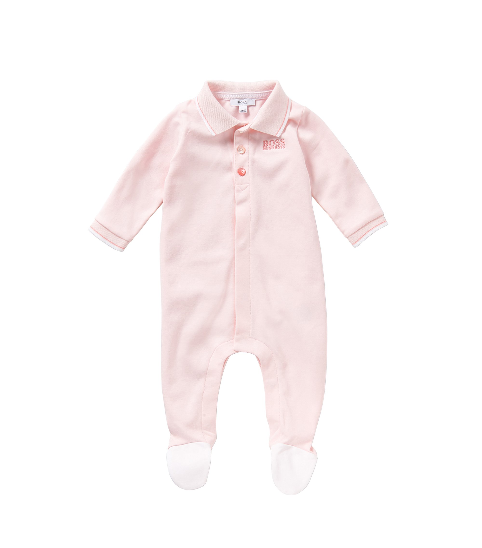 Newborns' bodysuit in cotton with a polo collar: 'J97101', light pink