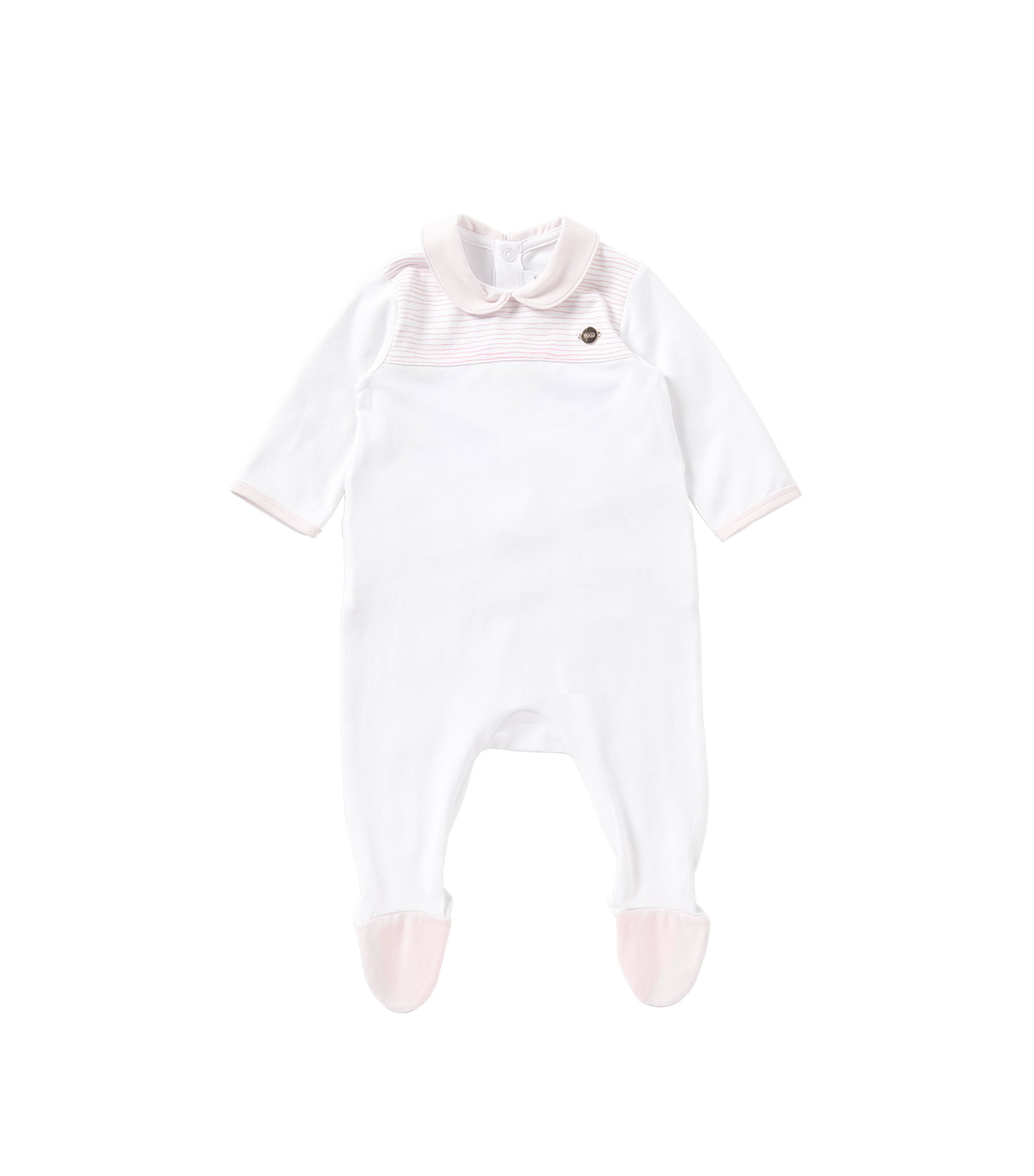 Newborn overalls in stretch cotton with striped details: 'J97102', White