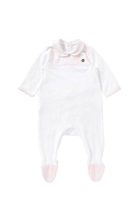 Tuta da neonato in cotone elasticizzato con dettagli a righe: 'J97102', Bianco