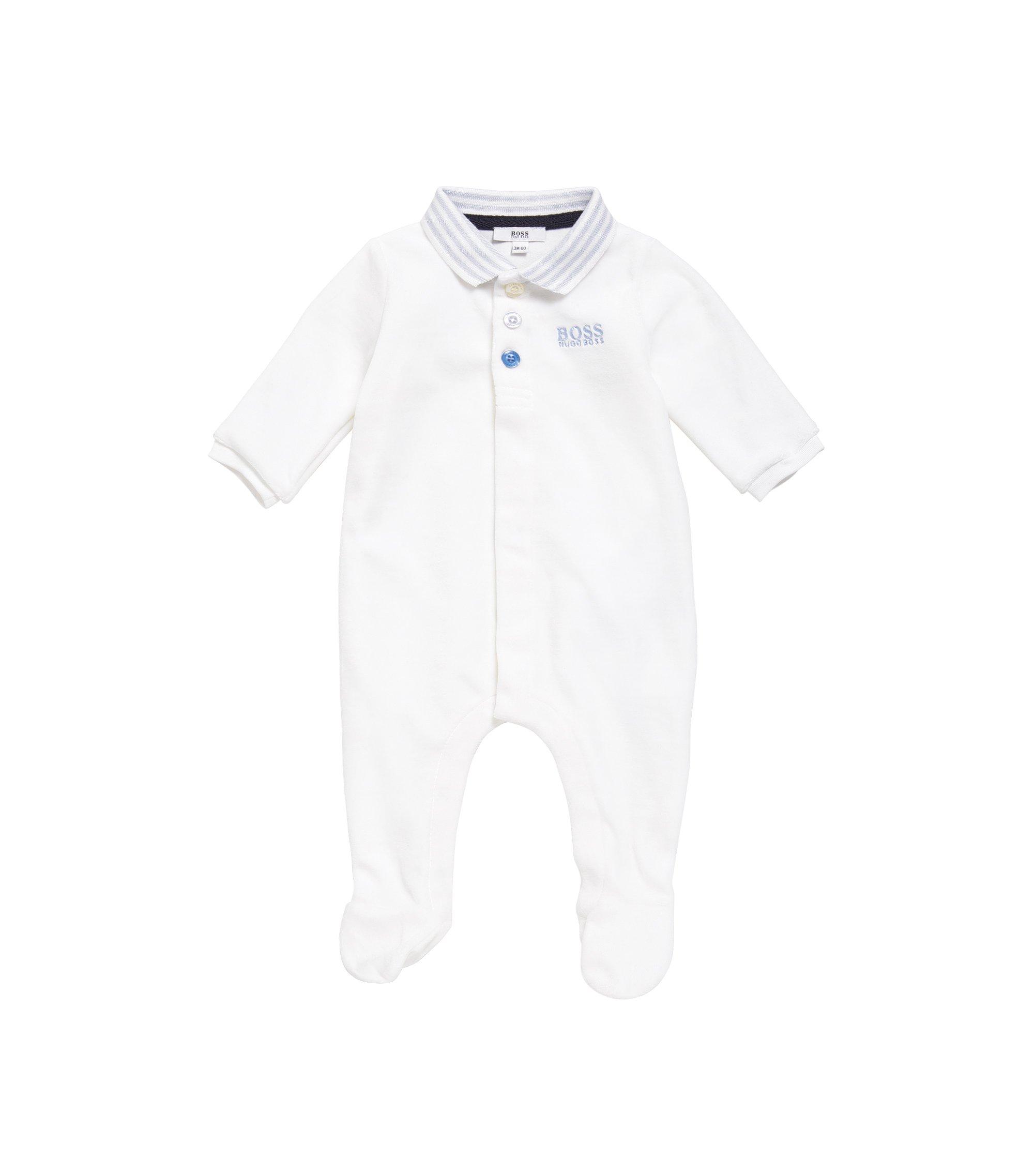 Grenouillère pour bébé en coton mélangé, à col polo: «J97108», Blanc