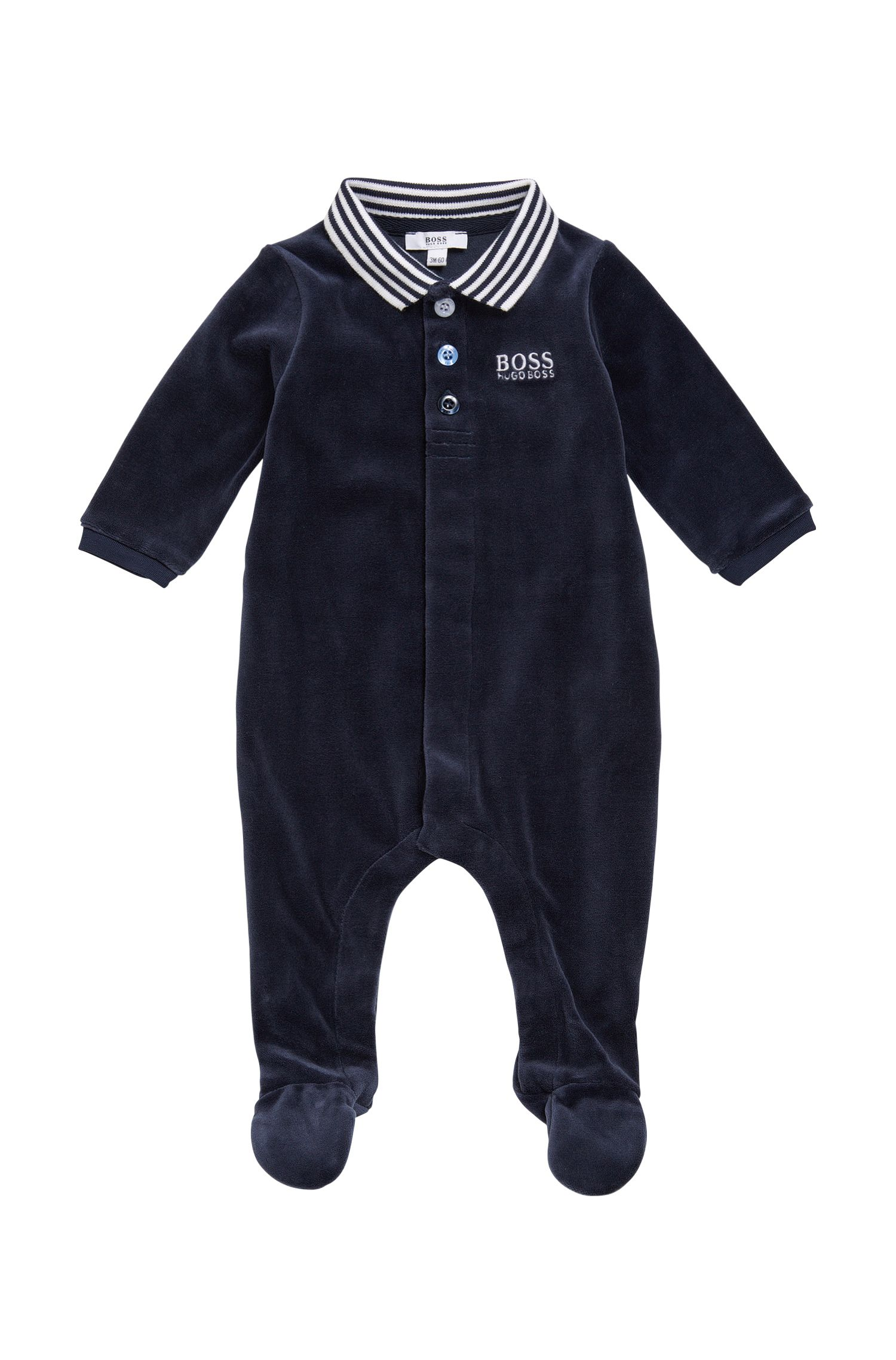 Newborn bodysuit in cotton blend with a polo collar: 'J97108'