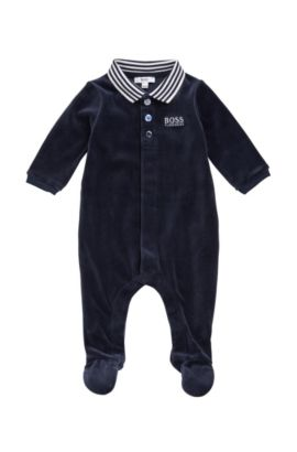 Newborn bodysuit in cotton blend with a polo collar: 'J97108', Dark Blue