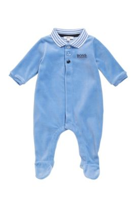 Newborn bodysuit in cotton blend with a polo collar: 'J97108', Light Blue