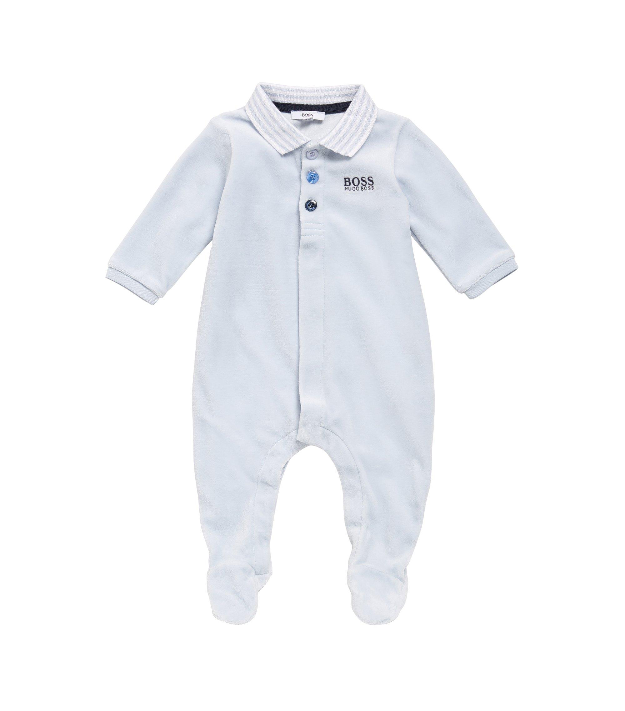 Grenouillère pour bébé en coton mélangé, à col polo: «J97108», Bleu vif