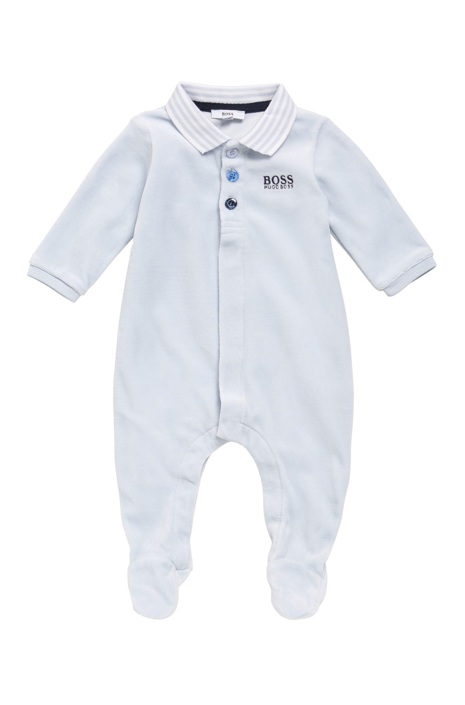 Grenouillère pour bébé en coton mélangé, à col polo: «J97108»