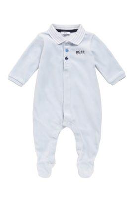 Newborn bodysuit in cotton blend with a polo collar: 'J97108', Light Blue